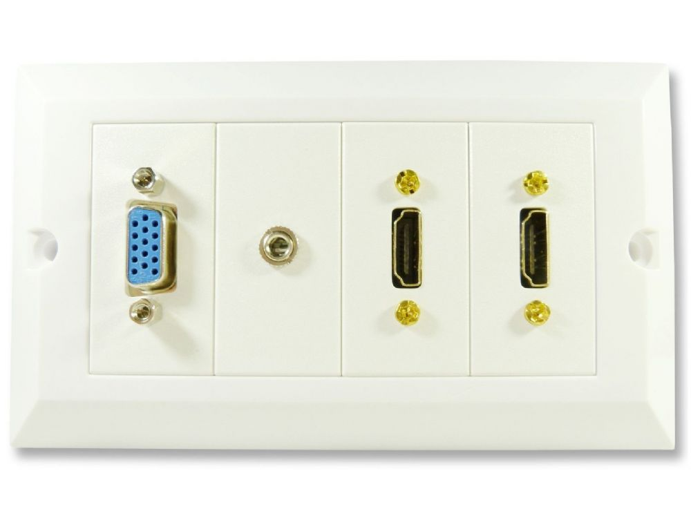 Multi Av Wall Plate Twin Hdmi Vga And 3 5mm Jack